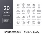travel and tourism line icons.... | Shutterstock .eps vector #695731627