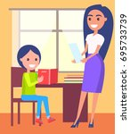 private lessons at home with... | Shutterstock .eps vector #695733739