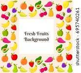 vector template with fruit frame | Shutterstock .eps vector #695740261