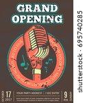 karaoke club  bar  audio record ... | Shutterstock .eps vector #695740285