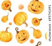 watercolor helloween. perfect... | Shutterstock . vector #695741491