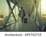 traveller walks in the last... | Shutterstock . vector #695742715