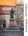 Small photo of Monument of the Reformer Martin Luther in Erfurt, Germany