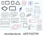 blank doodle sketch postal...   Shutterstock .eps vector #695743759