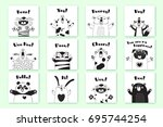 Stock vector cards with funny animals and exclamations tiger pig bear fox sheep cat pug panda rabbit for the 695744254