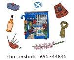 scotland souvenir shop. hand... | Shutterstock .eps vector #695744845