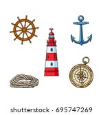 set of nautical objects  ...   Shutterstock .eps vector #695747269
