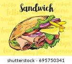 sandwich vector image. hand... | Shutterstock .eps vector #695750341