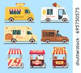 street fast food delivery... | Shutterstock .eps vector #695750575