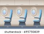 passenger airplane vector... | Shutterstock .eps vector #695750839