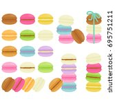 sweet macarons in white... | Shutterstock .eps vector #695751211