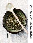 sencha green tea leaves | Shutterstock . vector #695753665