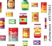 canned goods and food in metal... | Shutterstock .eps vector #695753815