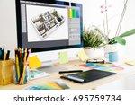 graphic design studio interior... | Shutterstock . vector #695759734