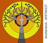 gray psychedelic tree   Shutterstock .eps vector #695760127