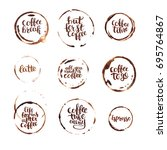 coffee traces and lettering... | Shutterstock .eps vector #695764867