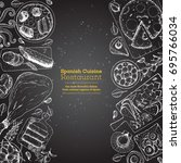 spanish cuisine top view. a set ... | Shutterstock .eps vector #695766034