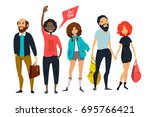 group of young hipsters. male... | Shutterstock .eps vector #695766421