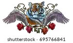 embroidery tiger  angel wings... | Shutterstock .eps vector #695766841