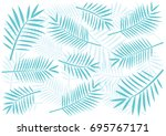 tropical blue palm tree leaves... | Shutterstock .eps vector #695767171