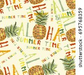 embroidery pineapple seamless... | Shutterstock .eps vector #695768359