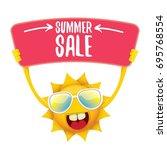 summer sale vector poster or... | Shutterstock .eps vector #695768554