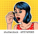 a girl with a short hair doing... | Shutterstock .eps vector #695769085