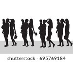 family silhouette  love dad and ... | Shutterstock .eps vector #695769184