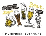 vector  beer glasses and mugs... | Shutterstock .eps vector #695770741