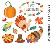 vector thanksgiving set. autumn ... | Shutterstock .eps vector #695773711