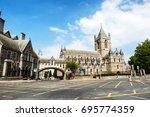 dublin  ireland. car traffic... | Shutterstock . vector #695774359