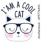 i'am a cool cat slogan and face ... | Shutterstock .eps vector #695776441