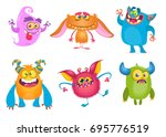 cute cartoon monsters. vector... | Shutterstock .eps vector #695776519