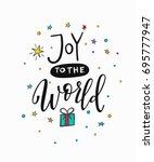 joy to the world merry... | Shutterstock .eps vector #695777947