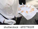 waiter walking with appetizers | Shutterstock . vector #695778109