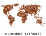roasted coffee beans shaped...   Shutterstock . vector #695780587
