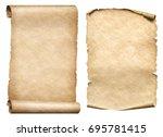 old paper scrolls 3d... | Shutterstock . vector #695781415