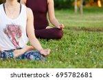 yoga group concept. young women ... | Shutterstock . vector #695782681