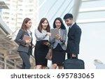selective focus young... | Shutterstock . vector #695783065