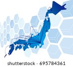 japan map network vector | Shutterstock .eps vector #695784361