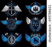 heraldic emblems with wings... | Shutterstock .eps vector #695788621