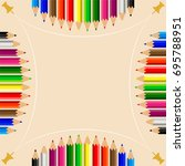 color pencils set with push pin ...   Shutterstock .eps vector #695788951