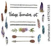 set of hand drawn vintage decor ... | Shutterstock .eps vector #695792185