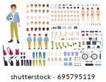 little boy character... | Shutterstock .eps vector #695795119