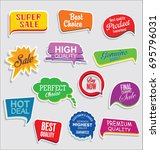 promo sale stickers and tags... | Shutterstock .eps vector #695796031
