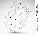 vector dimensional wireframe... | Shutterstock .eps vector #695796181
