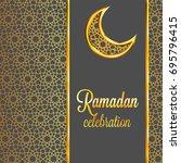 ramadan kareem greeting card... | Shutterstock . vector #695796415