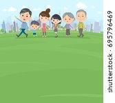 hand holding family three... | Shutterstock .eps vector #695796469