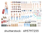 young girl traveler character... | Shutterstock .eps vector #695797255
