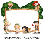 frame template with kids in... | Shutterstock .eps vector #695797909